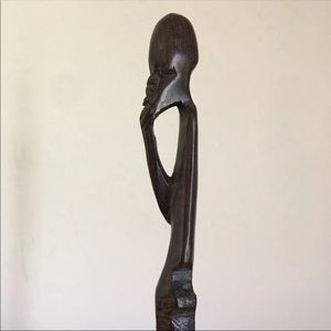 African Wood Hand Carved Statue Figurine Small